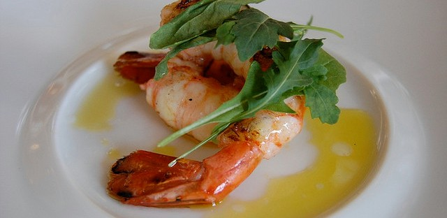 Grilled spot prawns with arugula, olive oil, lemon, and sea salt at Enoteca Spiaggia preview at Spiaggia in Chicago
