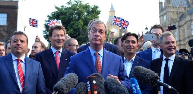 """Nigel Farage, leader of the United Kingdom Independence Party (UKIP), a vocal supporter of the """"Leave"""" campaign who was once regarded as a fringe politician, speaks during a press conference near the Houses of Parliament in central London on Friday."""