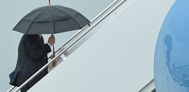 President Trump boards Air Force One before departing from Morristown Municipal Airport in New Jersey over the weekend. Trump is meeting with Russian President Vladimir Putin, among other heads of state, at the G-20 summit.