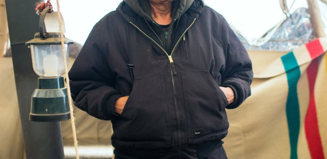 Lee Plenty Wolf, 60, is Ogalala Lakota from the Pine Ridge Reservation. He is one of the lead elders at Standing Rock and mentor of newly elected young headsmen of the Oceti Sakowin Camp.