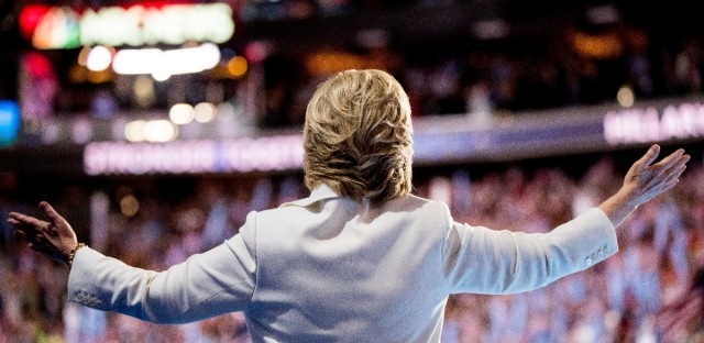 Democratic presidential candidate Hillary Clinton waves to the crowd as she takes the stage to speak during the fourth day session of the Democratic National Convention in Philadelphia.