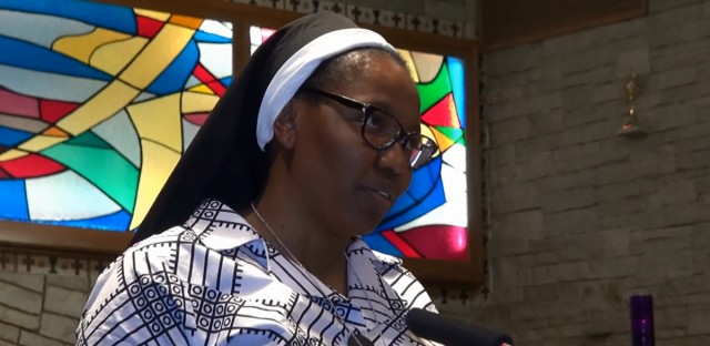 Sister Chioma Ahanihu is a therapist at Catholic Charities of the Chicago Archdiocese and she's a nun with the Sisters of the Living Word order, based in Arlington Heights.