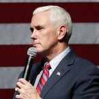 Republican vice presidential candidate Indiana Gov. Mike Pence speaks during a campaign rally in Newton, Iowa, on Oct. 11.