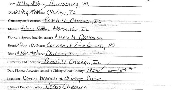The Newberry Library's ChicagoAncestry map can help you learn more about Chicago genealogy and local history. Search their CGS Pioneers collection for information about specific Chicagoans before the Chicago Fire, including this application on behalf of Archibald Clybourn - yes, like Clybourn Ave.