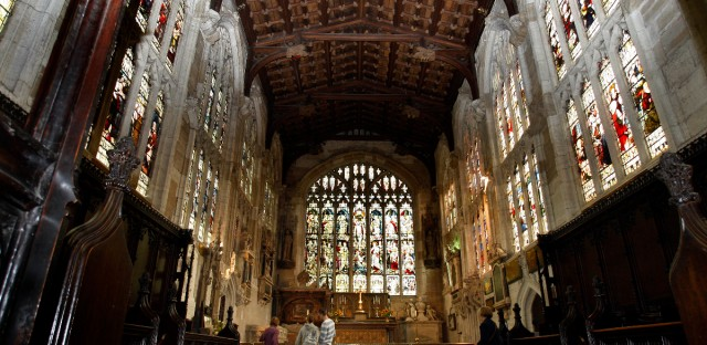 The roof of the church where William Shakespeare was baptized and buried is seen in the Chancel of Holy Trinity Church in Stratford Upon Avon, England.