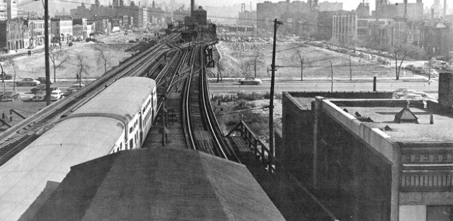 Garfield Park 'L' at Ashland during land clearance, 1953