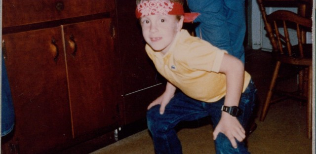 Welles Crowther as a child, wearing his trademark red bandanna. (Courtesy of The Crowther Family)