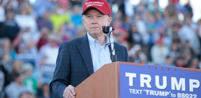 Sen. Jeff Sessions, Donald Trump's nominee for attorney general, endorses Trump for president on Feb. 28, 2016, in Madison, Ala. (Taylor Hill/WireImage)