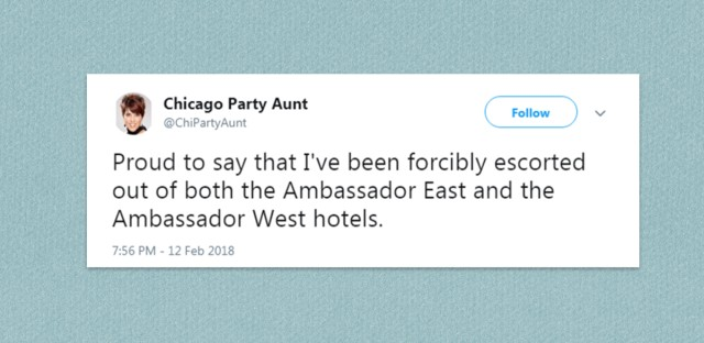 A tweet from @chipartyaunt on a blue background