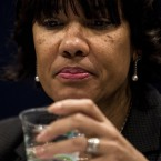 "Mayor Karen Weaver takes a sip of water at the House Democratic Steering & Policy Committee hearing titled, ""The Flint Water Crisis: Lessons for Protecting America's Children."""