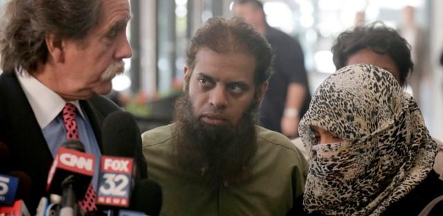 Attorney Thomas Durkin, left, talks with Shafi, and Zarine Khan, parents of Mohammed Hamzah Khan