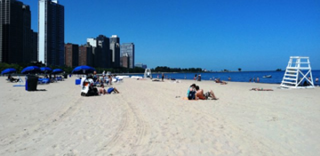 Chicago's Oak Street Beach was under a cautionary swim advisory on Monday.