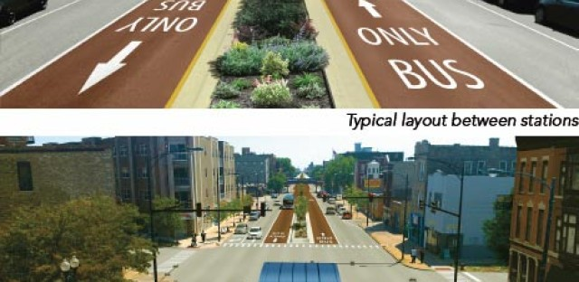 The BRT design favored by top Chicago staffers would preserve parking on both sides of Ashland Avenue but eliminate traffic lanes.