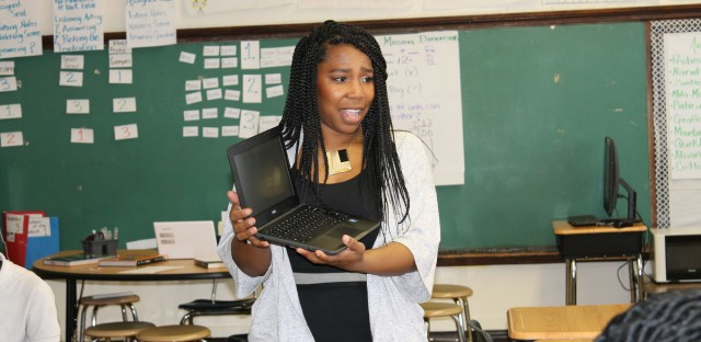 Burke Elementary School teacher Jakil Hill Turner. Turner discovered Burke through a Chicago Public Schools program that helps place quality teacher candidates in high-need schools.