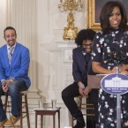 Michelle Obama with the creator and star of Hamilton, Lin-Manuel Miranda (L), along with cast members Daveed Diggs (2nd L) and Christopher Jackson (R).