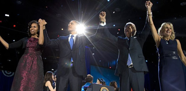 President Barack Obama, first lady Michelle Obama, Vice President Joe Biden and Jill Biden acknowledge the crowd at his election night party in Chicago.