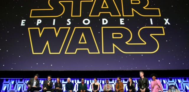 "Stephen Colbert, from left, J.J. Abrams, Kathleen Kennedy, Anthony Daniels, Billy Dee Williams, Daisy Ridley, John Boyega, Oscar Isaac, Kelly Marie Tran, Joonas Suotamo and Naomi Ackie participate in the ""Star Wars: The Rise of Skywalker"" panel on day 1 of the Star Wars Celebration at Wintrust Arena on Friday, April 12, 2019, in Chicago."