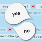 "Two speech bubbles reading ""yes"" and ""no"" overlaid over a ticker of questions like: ""hire more police?"" and ""a casino in Chicago?"""