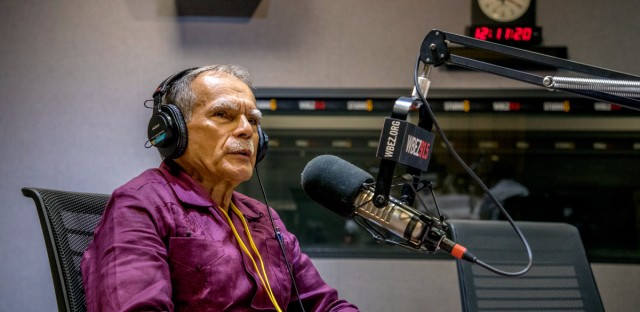 Oscar Lopez Rivera speaks on 'Worldview' in the WBEZ studios.