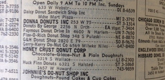 One look in the Yellow Pages from 1963 shows a number of privately-owned doughnut shops that have since gone out of business. Dunkin Donuts could be to blame.