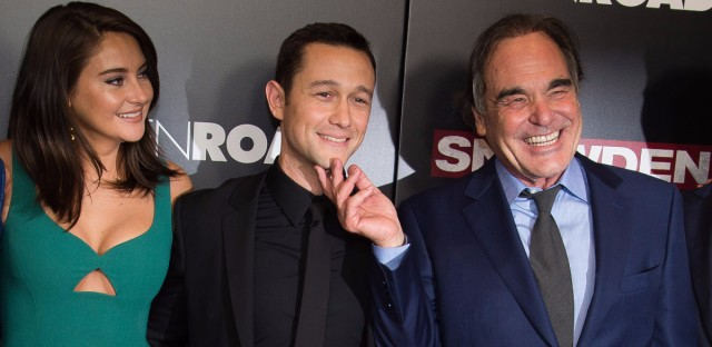 """Shailene Woodley, left, Joseph Gordon-Levitt and Oliver Stone attend the premiere of """"Snowden"""" at AMC Loews Lincoln Square on Tuesday, Sept. 13, 2016, in New York. (Photo by Charles Sykes/Invision/AP)"""