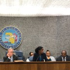 Kim Foxx before the Cook County Board of Commissioners