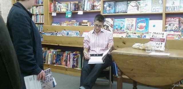 Cartoonist Alison Bechdel at a 2008 signing at Women and Children First.