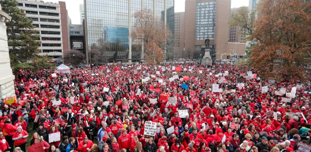 Indiana teachers rally AP