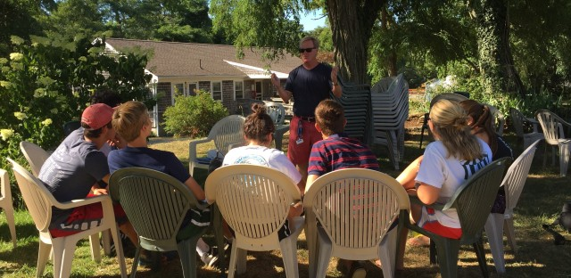 Cape Cod Sea Camps resident director Stephen Gray Wallace, who runs weekly sessions with the campers, has been helping counsel them through their withdrawal from the screens that dominate many of their lives.