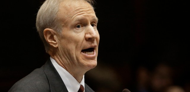Illinois Gov. Bruce Rauner speaking at the Illinois State Capitol in Springfield in March.