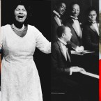 A collage of Mavis Staples (of the Staple Singers), Mahalia Jackson, Rev. Thomas A. Dorsey and Albertina Walker.