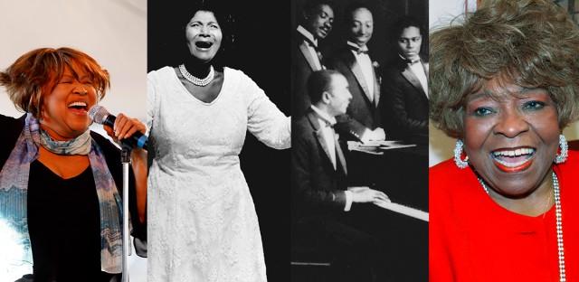 From left: Mavis Staples (of the Staple Singers), Mahalia Jackson, Rev. Thomas A. Dorsey (at the piano) and Albertina Walker.