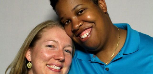 Interracial lesbian couple falls in love