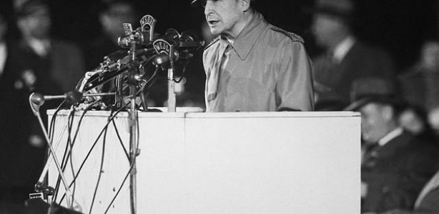 MacArthur speaking at Soldier Field