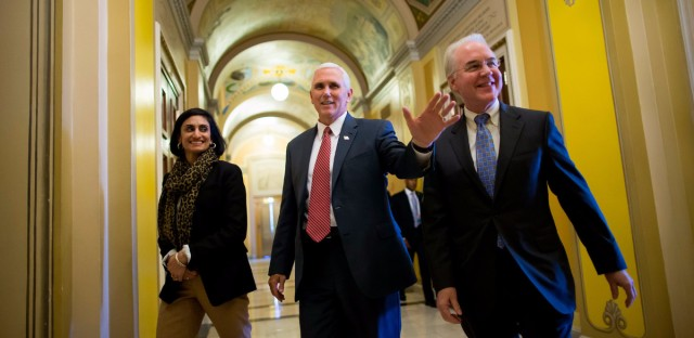 Seema Verma, who is administrator of the Centers for Medicare and Medicaid Services, on Capitol Hill with Vice President Mike Pence and Secretary of Health and Human Services Tom Price while advocating for the GOP health overhaul bill.