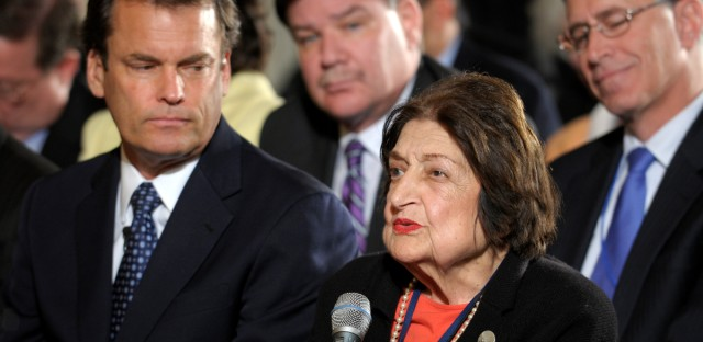 In this May 27, 2010, file photo veteran White House journalist Helen Thomas asks a question of President Barack Obama during a news conference in the East Room of the White House in Washington. Thomas, a pioneer for women in journalism and an irrepressible White House correspondent, died in 2013 at the age of 92 and used her seat in the front row of history to grill nine presidents.