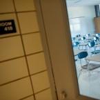 empty classroom with desks 2