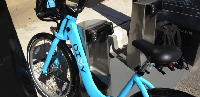 The author's first Divvy bike, checked out from the station at Lake and Clinton. Chicago's new bikeshare program launched on Friday.