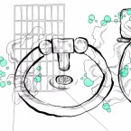 illustration of toilet and sink surrounded by green bubbles layered over a prison cell