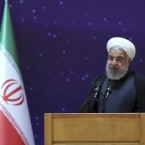 President Hassan Rouhani speaks in a ceremony to mark Iran's National Nuclear Day, dedicated to the country's achievements in nuclear technology, in Tehran on April 9.
