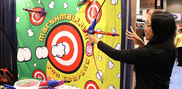 Louisa Chu shoots Marshmallow Fun Company® Marshmallow Bow and Mallow at Sweets & Snacks Expo 2013 in Chicago