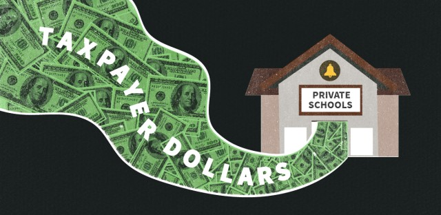 """An illustration of a swirl of money with the words """"taxpayer dollars"""" flowing into a school building labeled """"private schools"""""""