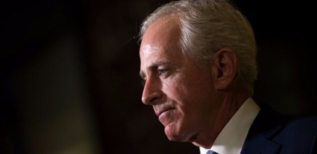 Sen. Bob Corker, R-Tenn., speaks to reporters after meeting with President-elect Donald Trump at Trump Tower on November 29, 2016. Drew Angerer/Getty Images