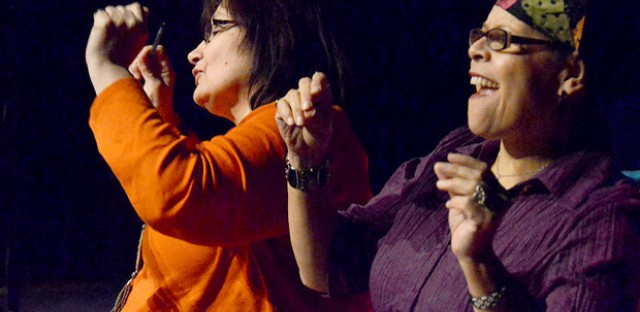 Writers Donna Pecore and D. Kucha Brownlee in the Neighborhood Writing Alliance's performance 'Body Wisdom.'
