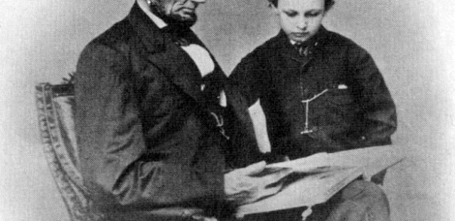 Abraham Lincoln and son Tad, Brady photo