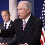 Attorney General Jeff Sessions delivers remarks during the daily White House press briefing on Monday.