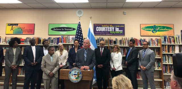 Chicago Mayor Lori Lightfoot named all new members to the Chicago Board of Education on Monday, including new President Miguel del Valle (at podium).