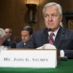 John Stumpf, chairman and CEO of Wells Fargo, arrives to testify in a Senate hearing in Washington, D.C., on Sept. 20. Stumpf was discussing the unauthorized opening of accounts by Wells Fargo.