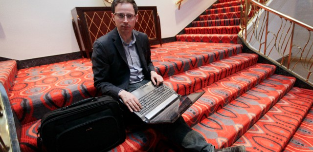 Nate Silver sits on the stairs at Allegro hotel in downtown Chicago on Nov. 9, 2012. The statistician, unabashed numbers geek, author and creator of the much-read FiveThirtyEight correctly predicted the 2012 presidential winner in all 50 states, and almost all the Senate races.