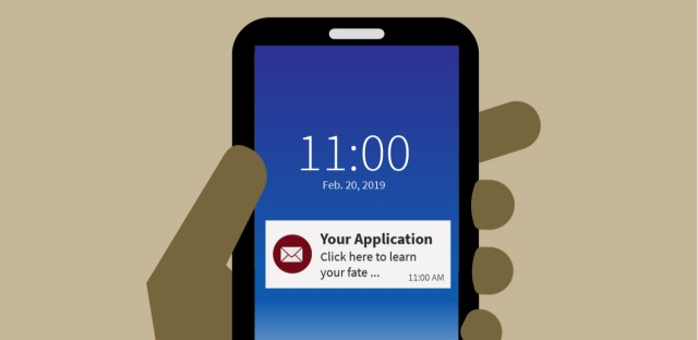 "An illustration of a hand holding a cell phone with an email notification that reads ""Your Application: Click here to learn your fate ..."""